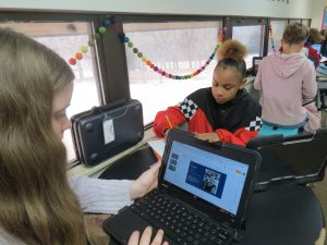 Students use Chrome books to study Rosa Parks s